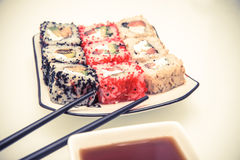 Sushi and chopsticks Royalty Free Stock Photos