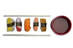 Sushi with chopsticks and soy sauce Stock Photo