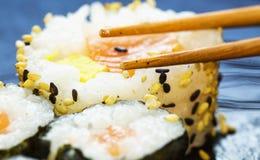 Sushi and chopsticks Stock Image