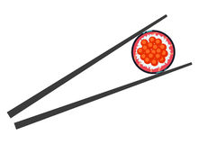 Sushi and chopsticks vector illustration  over white Stock Images
