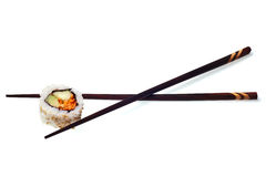 Sushi chopsticks vegetarian california roll Stock Images