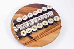 Sushi and chopsticks Royalty Free Stock Images
