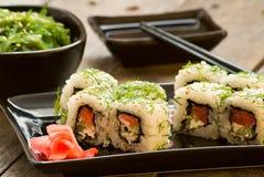 Sushi and chuka seaweed salad with soy sauce Stock Photography