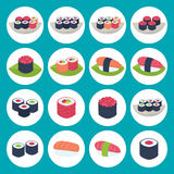 Sushi circular icon set over blue Stock Photo