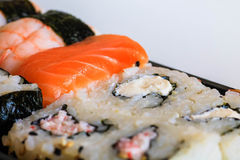 Sushi close macro up shot. Royalty Free Stock Images