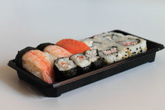 Sushi close macro up shot with raw fish. Royalty Free Stock Photos