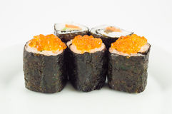 Sushi close up. Five sushi close up on a plate Royalty Free Stock Photography