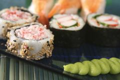 Sushi close up. Sushi with wasabi paste stock images