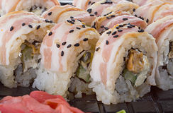Sushi close up us background Royalty Free Stock Images