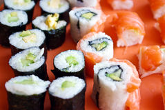 Sushi closeup. Different sushi specialties close up Stock Image