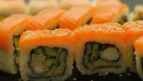 Sushi closeup asian cuisine meal recipe diet food. Salmon sushi closeup. asian cuisine. traditional meal recipe. diet healthy food stock video