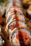 Sushi in row Royalty Free Stock Images