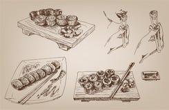 Sushi. colección de diseños del vector Fotos de archivo libres de regalías