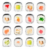 Sushi collage. Sushi maki isolated on white background for menu royalty free stock images