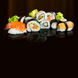Sushi collection, isolated on black background. Asia travel Royalty Free Stock Images