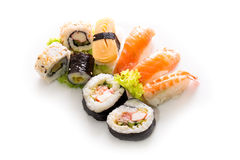 Sushi collection, isolated on white background. Royalty Free Stock Photos