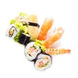 Sushi collection, isolated on white background. Stock Photo
