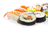 Sushi collection, isolated on white background. Royalty Free Stock Photography