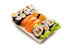 Sushi collection, isolated on white background. Stock Photos