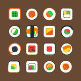 Sushi Color Icons Set. Vector. Sushi Asian Food Color Icons Set Tasty Oriental Cuisine Concept Web Style Design. Vector illustration vector illustration