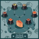 Sushi color isomeric concept icons Stock Image