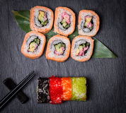 Sushi with colorful flying fish eggs Stock Photography