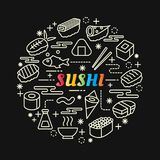 Sushi colorful gradient with line icons set Stock Photos