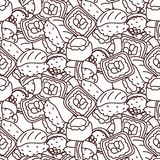 Sushi coloring page vector seamless pattern. Japan food rolls background vector illustration