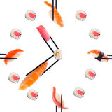 Sushi com chopsticks Fotos de Stock Royalty Free