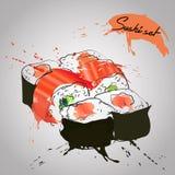Sushi com salmões Imagens de Stock Royalty Free