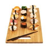 Sushi composition over cutting board Stock Photo