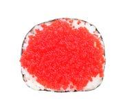 Sushi con el caviar aislado en blanco Imagenes de archivo