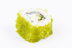 Sushi con i pesci ed il caviale verde Fotografia Stock Libera da Diritti