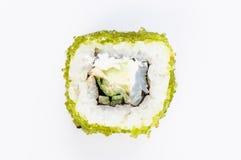 Sushi con il punto di vista superiore del caviale verde e dei pesci Fotografia Stock