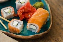 Sushi con la salsa de soja Fotografía de archivo