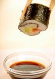 Sushi con la salsa de soja Imagen de archivo