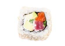 Sushi con la vista superiore dei pesci e dell'avocado Fotografia Stock Libera da Diritti