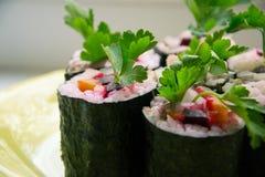 Sushi con le verdure Fotografia Stock