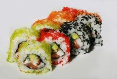 Sushi con los pescados y el caviar Imagen de archivo libre de regalías