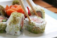 Sushi con los salmones fotografía de archivo