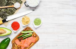 Sushi Cooking Ingredients with Copy Space Stock Image