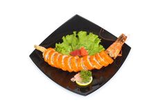 Sushi and crab isolated Royalty Free Stock Images