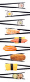 Sushi criss-cross. Set of 7 hands holding various types of sushi with chopsticks isolated on a black background Royalty Free Stock Photo