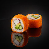 Sushi with cucumber and crab sticks Royalty Free Stock Photography