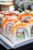 Sushi with cucumber and salmon Stock Photography
