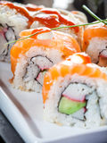 Sushi with cucumber and salmon Stock Photo