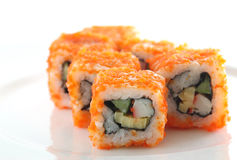 Sushi d'imitation de roulis d'oeufs d'isolement Photographie stock