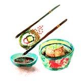 Sushi d'isolement d'aquarelle et peinture japonaise de nourriture sur le Ba blanc Photographie stock libre de droits