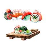 Sushi d'isolement d'aquarelle et peinture japonaise de nourriture sur le Ba blanc Photographie stock