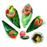 Sushi d'isolement d'aquarelle et peinture japonaise de nourriture sur le Ba blanc Image stock